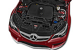 Car Stock 2015 Mercedes Benz E Class AMG Line 2 Door Convertible 2WD Engine high angle detail view