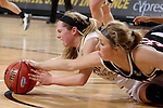 SIOUX FALLS, SD - MARCH 6:  Ellie Brecht #34 from University of Omaha battles for the loose ball with Sydney Hall #42 from IUPUI during their game Sunday at the 2016 Summit League Tournament. (Photo by Dave Eggen/Inertia)