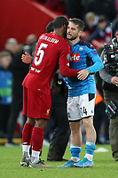 27th November 2019; Anfield, Liverpool, Merseyside, England; UEFA Champions League Football, Liverpool versus SSC Napoli ; Georginio Wijnaldum of Liverpool embraces Dries Mertens of SSC Napoli after the final whistle - Editorial Use