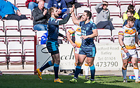 Picture by Allan McKenzie/SWpix.com - 25/03/2018 - Rugby League - Betfred Championship - Batley Bulldogs v Featherstone Rovers - Heritage Road, Batley, England - Feartherstone's Luke Briscoe is congratulated by Tom Holmes on scoring a try against Batley.