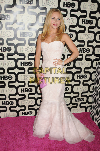 Hayden Panettiere.HBO's 70th Annual Golden Globes After Party held at Circa 55 Restaurant, Beverly Hills, California, USA..January 13th, 2013.full length dress hand on hip pink strapless fishtail tulle clutch bag.CAP/ADM/BP.©Byron Purvis/AdMedia/Capital Pictures.