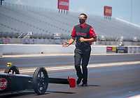 Jul 11, 2020; Clermont, Indiana, USA; Crew member for NHRA top fuel driver Steve Torrence during qualifying for the E3 Spark Plugs Nationals at Lucas Oil Raceway. This is the first race back for NHRA since the start of the COVID-19 global pandemic. Mandatory Credit: Mark J. Rebilas-USA TODAY Sports