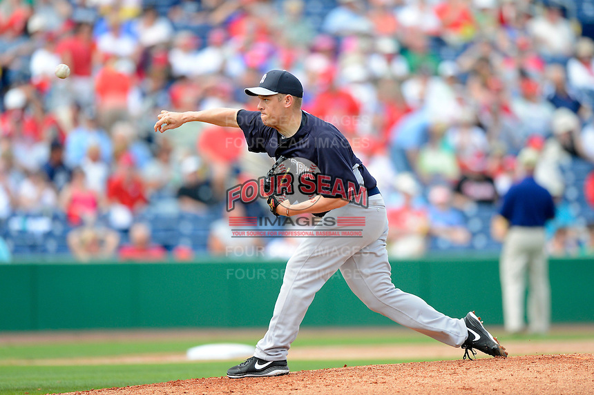 New York Yankees pitcher Jim Miller #43 during a Spring Training game against the Philadelphia Phillies at Bright House Field on February 26, 2013 in Clearwater, Florida.  Philadelphia defeated New York 4-3.  (Mike Janes/Four Seam Images)