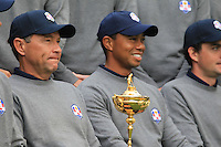 USA Team Captain Davis Love III and Tiger Woods at the USA Team photo shoot during Monday's Practice Day of the 39th Ryder Cup at Medinah Country Club, Chicago, Illinois 25th September 2012 (Photo Eoin Clarke/www.golffile.ie)