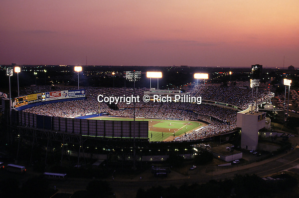 ARLINGTON, TX - 1993:  General view of Arlington Stadium on Nolan Ryan Day during a Texas Ranger game in 1993 in Arlington, Texas.  (Photo by Rich Pilling)