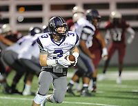 NWA Democrat-Gazette/ANDY SHUPE<br /> Barrett Banister (3) of Fayetteville carries the ball against Springdale Friday, Oct. 9, 2015, during the first half of play at Jarrell Williams Bulldog Stadium in Springdale. Visit nwadg.com/photos to see more photographs from the game.