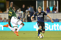 San Jose, CA - Saturday September 30, 2017: Larrys Mabiala, Tommy Thompson during a Major League Soccer (MLS) match between the San Jose Earthquakes and the Portland Timbers at Avaya Stadium.