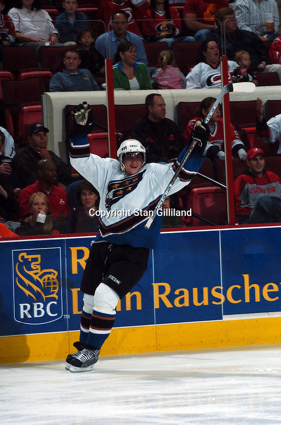 Washington Capitals' Alexander Ovechkin celebrates an early goal against the Carolina Hurricanes during their game Wednesday, Oct. 12, 2005 in Raleigh, NC. Carolina won 7-2.