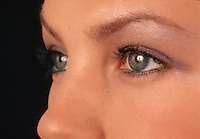 Anatomical detail of a woman's eyes, brows nad nose.