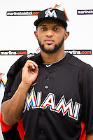 Miami, Florida 11-11-11: Emilio Bonifacio..The new Miami Marlins introduces new name, new logo and new iuniforms in the new ball park..Photo by Jesus Aranguren