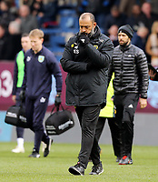 Wolverhampton Wanderers manager Nuno Espirito Santo looks pensive as he makes his way to the dressing room<br /> <br /> Photographer Rich Linley/CameraSport<br /> <br /> The Premier League - Burnley v Wolverhampton Wanderers - Saturday 30th March 2019 - Turf Moor - Burnley<br /> <br /> World Copyright © 2019 CameraSport. All rights reserved. 43 Linden Ave. Countesthorpe. Leicester. England. LE8 5PG - Tel: +44 (0) 116 277 4147 - admin@camerasport.com - www.camerasport.com