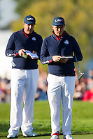 Phil Mickelson and Richie Fowler (Team USA) on the 6th during the Saturday morning Foursomes at the Ryder Cup, Hazeltine national Golf Club, Chaska, Minnesota, USA.  01/10/2016<br /> Picture: Golffile | Fran Caffrey<br /> <br /> <br /> All photo usage must carry mandatory copyright credit (&copy; Golffile | Fran Caffrey)