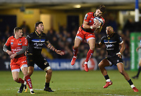 Hugo Bonneval of RC Toulon claims the ball in the air. European Rugby Champions Cup match, between Bath Rugby and RC Toulon on December 16, 2017 at the Recreation Ground in Bath, England. Photo by: Patrick Khachfe / Onside Images