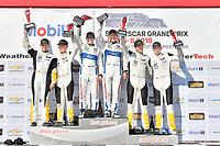 #67 Chip Ganassi Racing Ford GT, GTLM: Ryan Briscoe, Richard Westbrook celebrates the win on the podium with <br /> #3 Corvette Racing Chevrolet Corvette C7.R, GTLM: Antonio Garcia, Jan Magnussen, #4 Corvette Racing Chevrolet Corvette C7.R, GTLM: Oliver Gavin, Tommy Milner