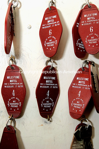 WOODBURY, CT- 15 JANUARY 2008-011508JS11--Room keys from the old Milestone Motel in Woodbury hand on the wall in the office. The property is for sale and being offered by John Famigletti of Drubner Industries. The motel was build in the 1950's and was a popular desitination for those traveling on Route 6.<br /> Jim Shannon / Republican-American
