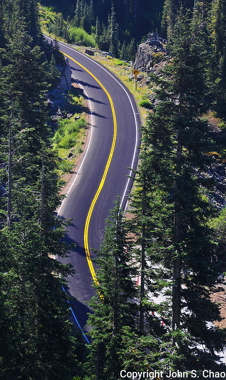 A curving, switchback section of Mountain Highway 410 between Cayuse Pass to Chinook Pass in Mount Rainier National Park, Washington State.