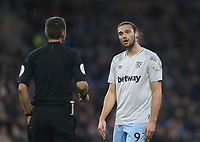 West Ham United's Andy Carroll in discussion with referee David Coote<br /> <br /> Photographer Rob Newell/CameraSport<br /> <br /> The Premier League - Burnley v West Ham United - Sunday 30th December 2018 - Turf Moor - Burnley<br /> <br /> World Copyright © 2018 CameraSport. All rights reserved. 43 Linden Ave. Countesthorpe. Leicester. England. LE8 5PG - Tel: +44 (0) 116 277 4147 - admin@camerasport.com - www.camerasport.com