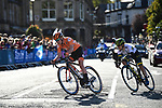 Anna van der Breggen of the Netherlands and Amanda Spratt of Australia lead the chase during the Women Elite Road Race of the UCI World Championships 2019 running 149.4km from Bradford to Harrogate, England. 28th September 2019.<br /> Picture: Pauline Ballet/SWpix.com | Cyclefile<br /> <br /> All photos usage must carry mandatory copyright credit (© Cyclefile | Pauline Ballet/SWpix.com)