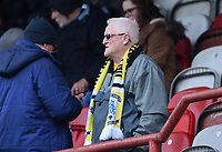 Preston supporter watching the pre-match warm-up <br /> <br /> Photographer Jonathan Hobley/CameraSport<br /> <br /> The EFL Sky Bet Championship - Brentford v Preston North End - Saturday 10th February 2018 - Griffin Park - Brentford<br /> <br /> World Copyright &copy; 2018 CameraSport. All rights reserved. 43 Linden Ave. Countesthorpe. Leicester. England. LE8 5PG - Tel: +44 (0) 116 277 4147 - admin@camerasport.com - www.camerasport.com