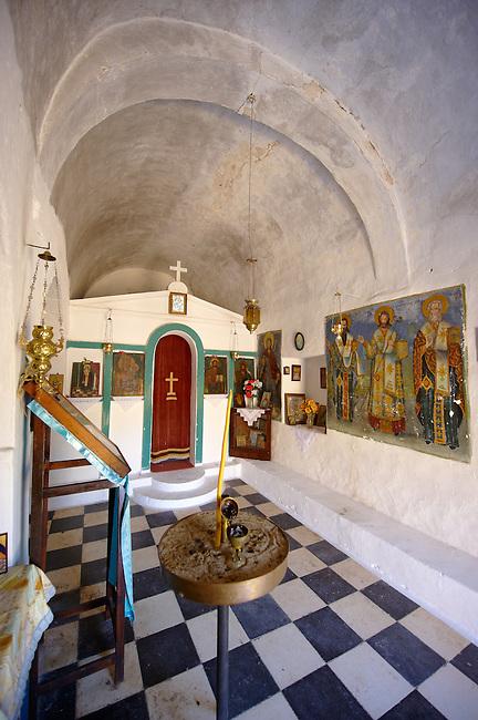Interior of the Greek Orthodox church of Saint Charapampos, Paliachora, Aegina, Greek Saronic Islands