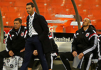 WASHINGTON, D.C - March 29 2014: D.C United coach Ben Olsen reacts to the tying goal from Chicago during the D.C. United vs the Chicago Fire MLS match at RFK Stadium, in Washington D.C. The game ended in a 2-2 tie.
