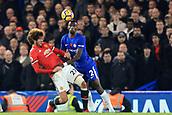 5th November 2017, Stamford Bridge, London, England; EPL Premier League football, Chelsea versus Manchester United; Marouane Fellaini battles to win a header against Antonio Rudiger of Chelsea