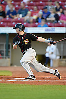 Quad Cities River Bandits outfielder Ryan Bottger (1) at bat during a game against the Cedar Rapids Kernels on August 19, 2014 at Perfect Game Field at Veterans Memorial Stadium in Cedar Rapids, Iowa.  Cedar Rapids defeated Quad Cities 5-3.  (Mike Janes/Four Seam Images)