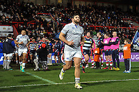 Nathan Catt and the rest of the Bath Rugby team run out onto the field. European Rugby Challenge Cup match, between Bristol Rugby and Bath Rugby on January 13, 2017 at Ashton Gate Stadium in Bristol, England. Photo by: Patrick Khachfe / Onside Images