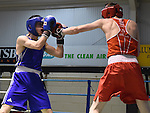 Padraig Convery (in blue) from Holy Family in action in the Louth Meath Boxing Championships held in Holy Family Boxing Club Ballsgrove.  Photo:Colin Bell/pressphotos.ie