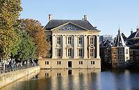 Nederland Den Haag 2015 09 27. De Hofvijver bij het Binnenhof. Links het Mauritshuis. Rechts het Torentje