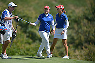 Owings Mills, MD - July 26, 2014: Teammates Inbee Park and So Yeon Ryu (r) of Korea prepare to putt on the 9th hole during Round 3 of four-ball competition at the LPGA International Crown at the Caves Valley Golf Club in Owings Mills, MD on July 26, 2014. 32 players from twelve countries competed in this inaugural tournament.  (Photo by Don Baxter/Media Images International)