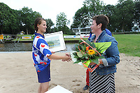 FIERLJEPPEN: GRIJPSKERK: Fierljepaccomodatie 'De Enk', 16-08-2014, ROC Friese Poort competitie 2014, Klaske Nauta, ©foto Martin de Jong