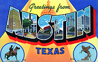 Greetings from Austin Capitol of Texas Postcard is an vintage Austin illustration originally from a 1937 postcard.