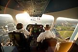 USA, California, San Francisco, flying over South San Francisco in the Airship Ventures Zeppelin; Silicon Valley