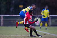 Ralston Gabriel of Haringey Borough is caught during the follow through from his strike on goal during AFC Hornchurch vs Haringey Borough, Bostik League Division 1 North Football at Hornchurch Stadium on 10th February 2018