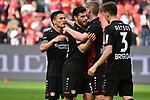 14.04.2018, BayArena, Leverkusen , GER, 1.FBL., Bayer 04 Leverkusen vs. Eintracht Frankfurt<br /> im Bild / picture shows: <br /> freuen sich &uuml;ber den Sieg Julian Brandt (Leverkusen #10), <br /> Panagiotis Retsos (Leverkusen #3),  Kevin Volland (Leverkusen #31), Charles Ar&aacute;nguiz (Leverkusen #20), <br /> <br /> <br /> Foto &copy; nordphoto / Meuter