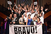 Members of Bravo Musical Society, Loughrea, County Galway celebrate after scooping Best Musical Director (Shane Farrell), Best Female Singer (Kate Creaven)  awards at the Association of Irish Musical Societies (AIMS) annual awards in the INEC, Killarney at the weekend. <br /> Photo Don MacMonagle<br /> <br /> repro free photo AIMS<br /> Further info: Kate Furlong PRO kate.furlong84@gmail.com