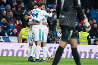 Real Madrid Lucas Vazquez and Borja Mayoral celebrating a goal during King's Cup match between Real Madrid and CD Numancia at Santiago Bernabeu Stadium in Madrid, Spain. January 10, 2018. (ALTERPHOTOS/Borja B.Hojas) /NortePhoto.com NORTEPHOTOMEXICO