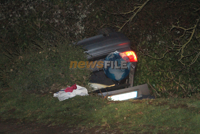 Three taken to hospital after the car they were travelling  in crashed and rolled onto its roof on the sheepgrange to rathmullen road on thursday evening, Three ambulances  and two fire appliances attended the scene...Picture Fran Caffrey/Newsfile.ie