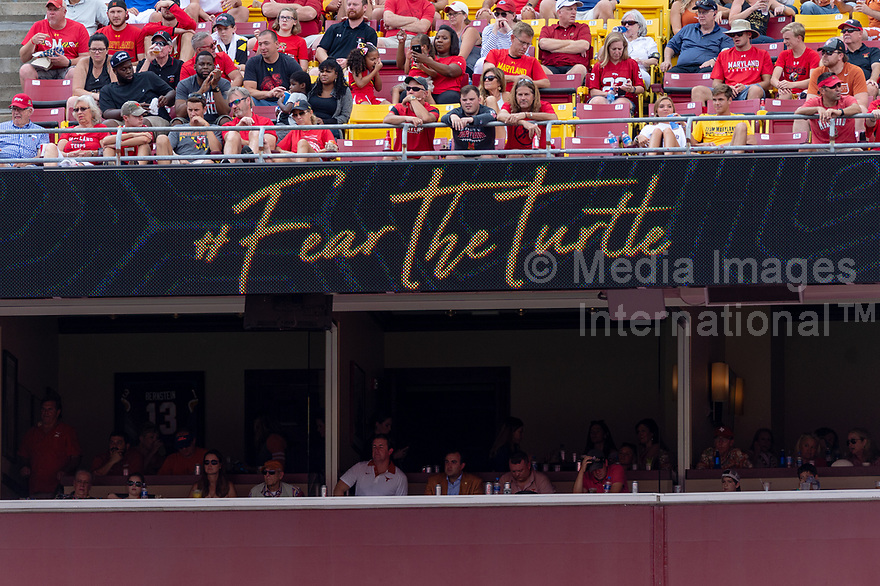 Landover, MD - September 1, 2018: The Maryland Terrapins  upset the Longhorns in back to back season openers with a 34-29 win. (Photo by Phillip Peters/Media Images International)
