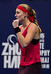 Kristina Mladenovic of France celebrates winning a point during the singles Round Robin match of the WTA Elite Trophy Zhuhai 2017 against Julia Goerges of Germany at Hengqin Tennis Center on November  03, 2017 in Zhuhai, China.  Photo by Yu Chun Christopher Wong / Power Sport Images