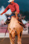 saddle bronc ride at Rooftop Rodeo in Estes Park, Colorado, USA