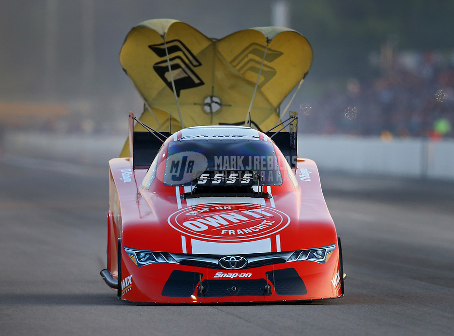 Jun 3, 2016; Epping , NH, USA; NHRA funny car driver Cruz Pedregon during qualifying for the New England Nationals at New England Dragway. Mandatory Credit: Mark J. Rebilas-USA TODAY Sports