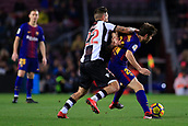 7th January 2018, Camp Nou, Barcelona, Spain; La Liga football, Barcelona versus Levante; Sergi Roberto of FC Barcelona is pulled back for the foul by Antonio Luna of Levante