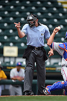 Umpire Alex Mackay makes a call during a game between the St. Lucie Mets and Bradenton Marauders on April 12, 2015 at McKechnie Field in Bradenton, Florida.  Bradenton defeated St. Lucie 7-5.  (Mike Janes/Four Seam Images)