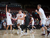STANFORD, CA - January 17, 2019: Kyler Presho, Jaylen Jasper, Jordan Ewert, Kyle Dagostino, Eric Beatty at Maples Pavilion. The Stanford Cardinal defeated UC Irvine 27-25, 17-25, 25-22, and 27-25.