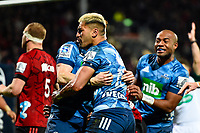 11th July 2020, Christchurch, New Zealand;  Rieko Ioane of the Blues celebrates his try during the Super Rugby Aotearoa, Crusaders versus Blues, at Orangetheory Stadium, Christchurch