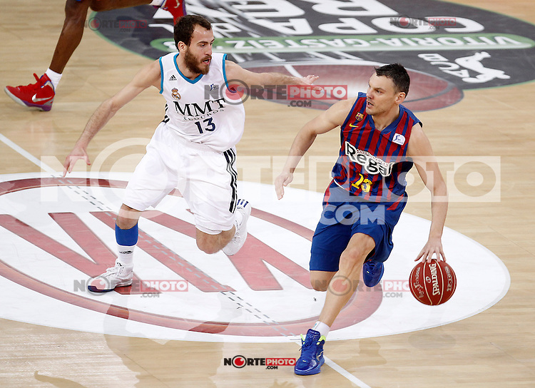 Real Madrid's Sergio Rodriguez (l) and FC Barcelona Regal's Sarunas Jasikevicius during Spanish Basketball King's Cup match.February 07,2013. (ALTERPHOTOS/Acero) /Nortephoto