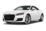 Stock pictures of low aggressive front three quarter view of 2016 Audi TT-Coupe  2.0T-quattro-S-tronic 2 Door Coupe