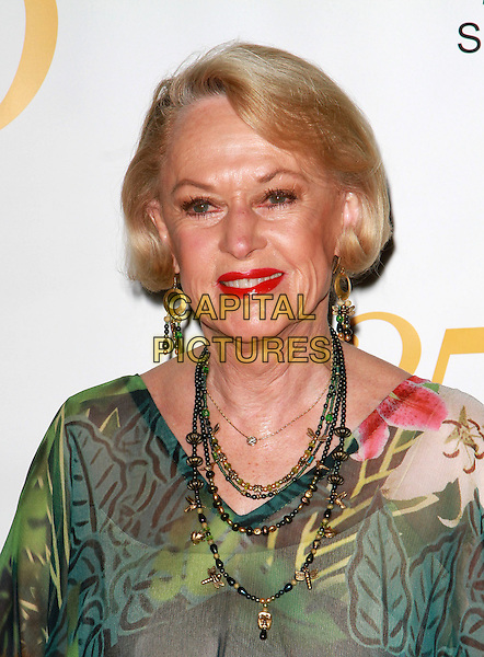 TIPPI HEDREN .25th Anniversary Genesis Awards held at the Hyatt Regency Century Plaza, Century City, California, USA,.19th March 2011..portrait headshot necklaces red lipstick make-up green floral print .CAP/ADM/KB.©Kevan Brooks/AdMedia/Capital Pictures.